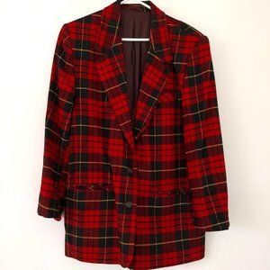Vintage 80s red plaid check wool oversize…
